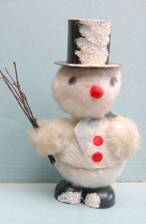 "21: This fluffy snowman  is about 20cm high and inside the container is printed ""containters made in Western Germany"".  His head wobbles."