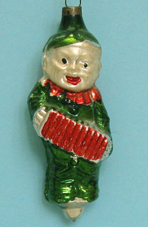 8cm, boy clown playing concertina