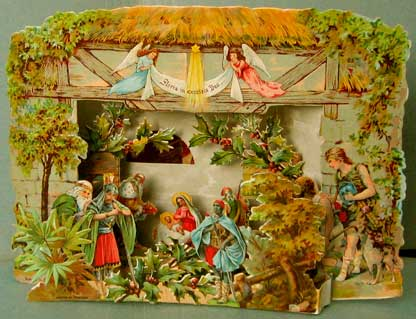 "Fold-out; dimensions  21 cm wide x 15 cm high; as on the first scene is printed ""imprimé en Allemagne"" and on the second ""Printed in Germany"" this fold-out is probably a marriage; judging by the design the front scene and the inner scene belong together, while the  outer building belongs to another.  For an original set, see the next photo."