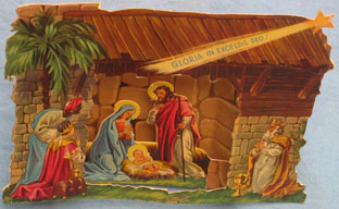 "Fold-out nativity, dimensions 16cm wide x 12 cm high; ""Printed in Belgium""."