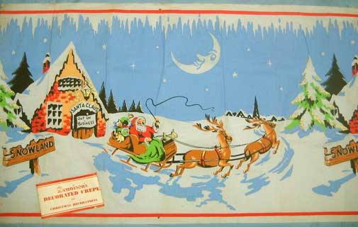"4: Crèpe paper decorated with Santa and his sleigh and reindeer in a snowy landscape. The note on  the door of the Santa Claus house reads ""out on business"". The paper is 51cm high and 210cm long, sold folded around a piece of cardboard. The wrapping label reads ""Dennison's Decorated Crepe for Christmas Decoration"" and on the other side  ""The Name Dennison for over 100 years has denoted products of the highest quality and distinction. Dennison Manufacturing Co;Ltd. Park Royal  London, N.W.10"", and a rubber stamp ""x189""."