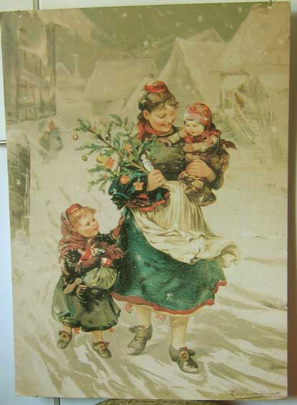 Print: 80 x 57 cm. 1950's? Probably a reproduction of an old print. Has two holes and a string for hanging.